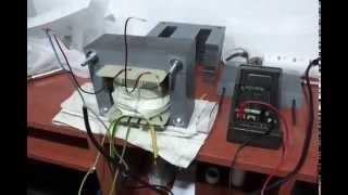 Transformador de 2100w, mi primera prueba ya montado, provisional.