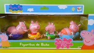 getlinkyoutube.com-Juguetes de Baño de Peppa Pig Familia con Flotador - Juguetes de Peppa Pig