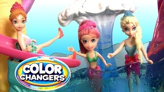 getlinkyoutube.com-Mermaid Polly Pocket Color Changers Race 'n Splash Pool Party Dunk Tank Disney Frozen Elsa Anna