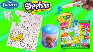 getlinkyoutube.com-Disney Frozen Surprise Blind Bag + Shopkins Crayola Color Wonder Craft Puzzle with Markers