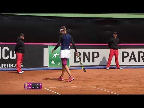 Johanna Konta hot shot Fed Cup drop shot against Romania