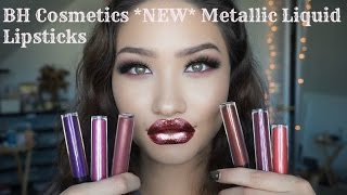 getlinkyoutube.com-*NEW* BH Cosmetics METALLIC LIQUID LIPSTICKS - Swatches | First Impressions | Review
