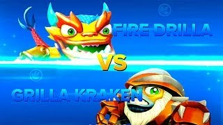 getlinkyoutube.com-Skylanders Swap Force PVP - Fire Drilla VS Grilla Kraken