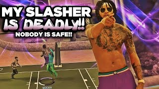 getlinkyoutube.com-NBA 2K17 MyPARK - NOBODY IS SAFE! My Slasher Is DEADLY! Contact Dunks For Days!