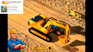 getlinkyoutube.com-Kids Construction Vehicles and Trucks (Bulldozer, Excavator, Wheel Loader & diggers)