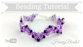 getlinkyoutube.com-Half Moon Bracelet Beading Tutorial by HoneyBeads1 #beading #tutorial