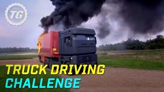getlinkyoutube.com-Truck Driving Challenge Part 1: Rig Stig & Power Slide - Top Gear - BBC