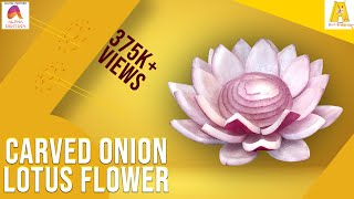 getlinkyoutube.com-Carved Onion Lotus Flower | Vegetable Carving