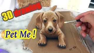 """getlinkyoutube.com-Painting of a dog in 3D   """"PET ME""""   3D Drawing Illusion"""