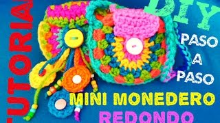 getlinkyoutube.com-Mini Monedero REDONDO!!! TEJIDO A CROCHET **DIY Crochet MUY FACIL!!!!