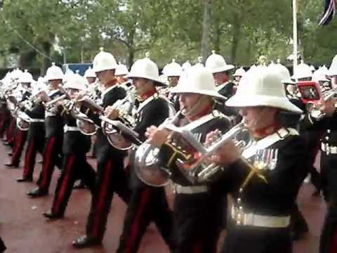 Massed Bands of HM Royal Marines Marching Up the Mall from Beating Retreat