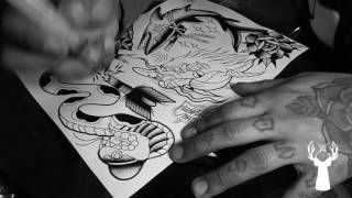 getlinkyoutube.com-Traditional Tattoo Flash Painting