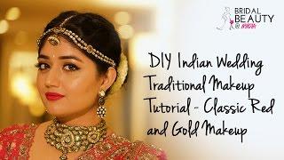 getlinkyoutube.com-DIY Indian Wedding Makeup Tutorial - Classic Red and Gold Makeup | Corallista