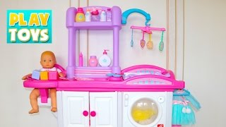 getlinkyoutube.com-Baby Doll Nursery Care toy set playing kids fun- change diaper & feed baby doll