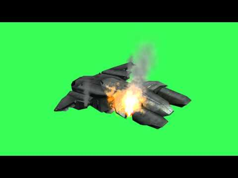 Halo pelican in flames after crash -  free Green & Blue Screen - Chroma key Effect