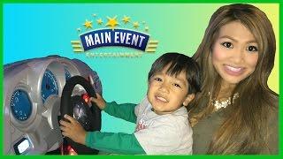 getlinkyoutube.com-Family Fun Indoor Games and Activities for kids Main Event Entertainment Fruit ninja Cars Racing