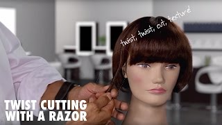getlinkyoutube.com-Twist Cutting with a Razor to Add Texture to Hair