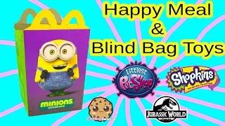 getlinkyoutube.com-Mcdonalds Minions Happy Meal Box - Surprise Blind Bag Toys - Shopkins Season 3, LPS,  Jurassic World