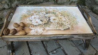 getlinkyoutube.com-Decoupage tutorial - DIY. How to make old wood texture. How to decorate wooden tray.
