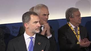 Final de la ceremonia de entrega a Antonio Guterres del Premio Carlomagno Aquisgrán 2019