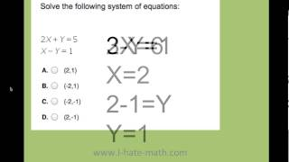 Pert Practice how to solve System of equations - YouTube
