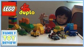 getlinkyoutube.com-DinoTrux Toys Dinosaur Toy Truck Custom Build Duplo Lego Revvit Ty-Rux Dino Legos By FamilyToyReview
