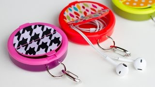 How to make an EARPHONE HOLDER (from a mint container)
