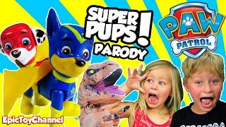 getlinkyoutube.com-PAW PATROL SUPER PUPS Rescue Kids T-Rex In REAL LIFE a Paw Patrol Parody Video by Epic Toy Channel