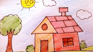 How To Draw a House For Kids
