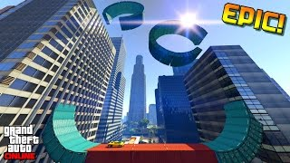 getlinkyoutube.com-EPIC BUILDING VERTICAL WALLRIDE STUNT! | GTA 5 RACES Online (Best Custom Races)