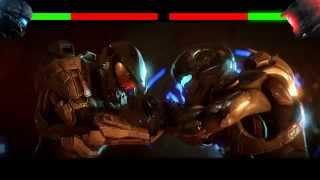 Halo 5 Master Chief vs Spartan Locke with health bars