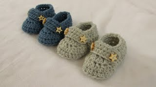 getlinkyoutube.com-VERY EASY crochet baby boy booties / shoes / loafers / slippers tutorial