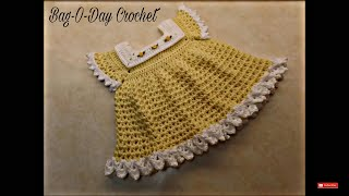 getlinkyoutube.com-CROCHET How To #Crochet Sunshine & Roses Baby Dress 0-6 Months #TUTORIAL #352