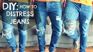 getlinkyoutube.com-DIY How To: Distressed Jeans Tutorial - dyrandoms