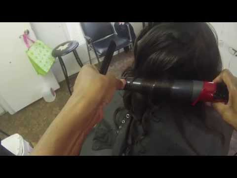 How to use a large wand  to style relaxed hair