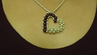getlinkyoutube.com-How to make small heart pendant with pearls/ DIY Valentine's day project