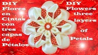 getlinkyoutube.com-DIY  kanzashi flores tres capas de pétalos -  flowers kanzashi three layers of petals