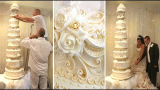 getlinkyoutube.com-CAKE DECORATING TECHNIQUES ROYAL ICING PIPING IDEAS TUTORIALS - HOW TO DECORATE BIG WEDDING CAKES