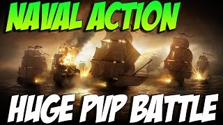 getlinkyoutube.com-Naval Action! Huge PVP- Tons Of Ships - Cutter Cutting WIND!