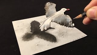 getlinkyoutube.com-Drawing a 3D Flying Bird, Trick Art