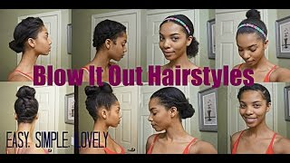 getlinkyoutube.com-Natural Hair| 7 Simple Styles for Blown Out Hair