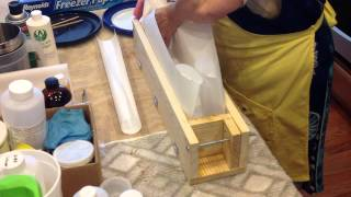Lining a Standard Wood Log Soap Mold w/freezer paper