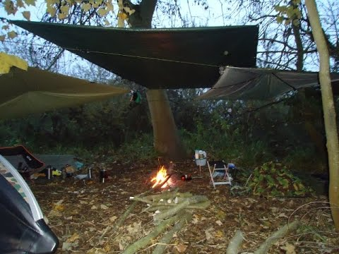 HOOPED BIVVY WILD CAMP - Autumn Kit, Stormy Weather, Sheltered Fire Pit Cooking