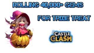 getlinkyoutube.com-Castle Clash: Rolling 40,000 Gems for Trixie Treat For Slim!!!