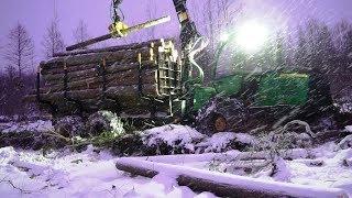 getlinkyoutube.com-John Deere 1110E logging in snowy winter forest