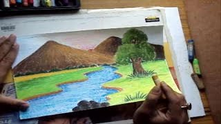 getlinkyoutube.com-How to Draw a Landscape with Mountains & River in Pastel Color