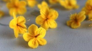 getlinkyoutube.com-How to make a felt ume blossom flower (Cách làm hoa mai hoa đào bằng vải dạ nỉ)