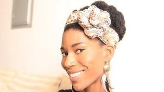 getlinkyoutube.com-2-in-1 Stylish Scarf on Natural Hair -KashTV
