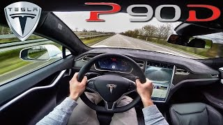 POV 2016 Tesla Model S P90D 762 HP 240 km/h Acceleration AutoPilot & Ludicrous on AUTOBAHN