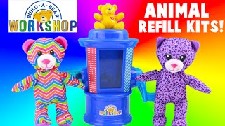 getlinkyoutube.com-Build A Bear Workshop Stuffing Station Refill Kits - Purple Kitty and Rainbow Bear Toys